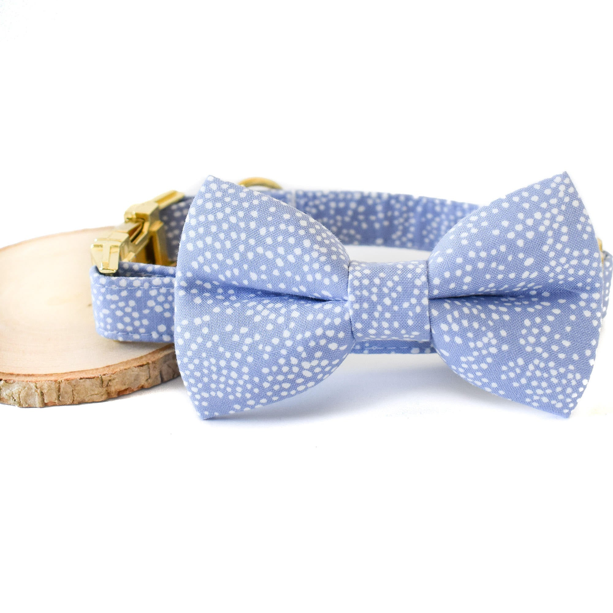 PERIWINKLE BUBBLY DOG COLLAR AND BOW TIE SET