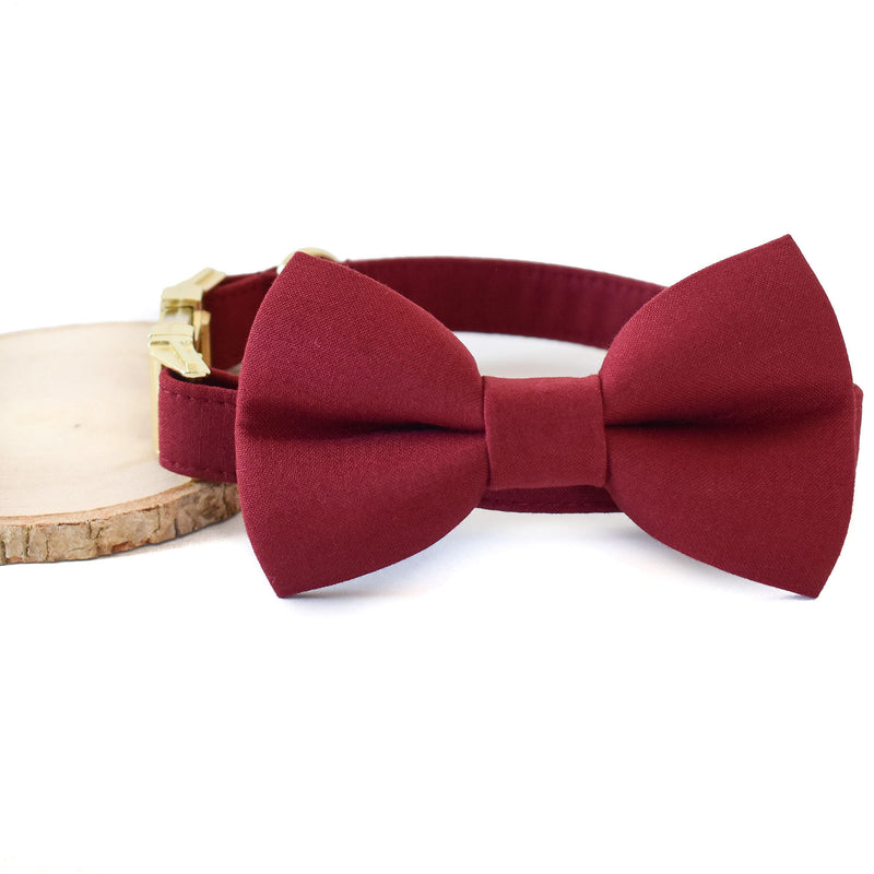 WINE RED DOG COLLAR AND BOW TIE SET