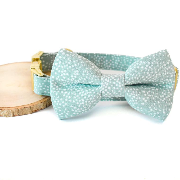 MINT BUBBLY DOG COLLAR AND BOW TIE SET
