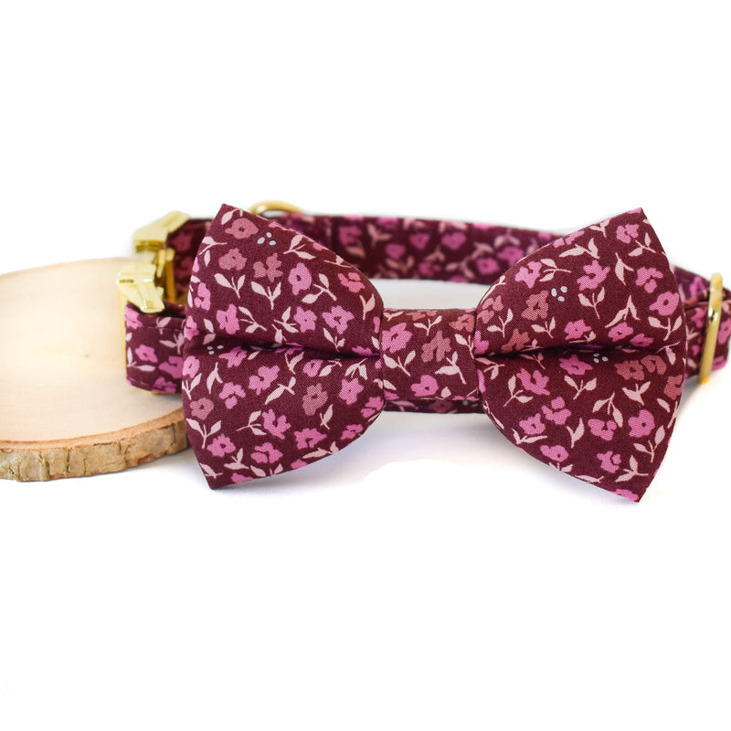 BURGUNDY AND PLUM FLORAL DOG COLLAR AND BOW TIE SET