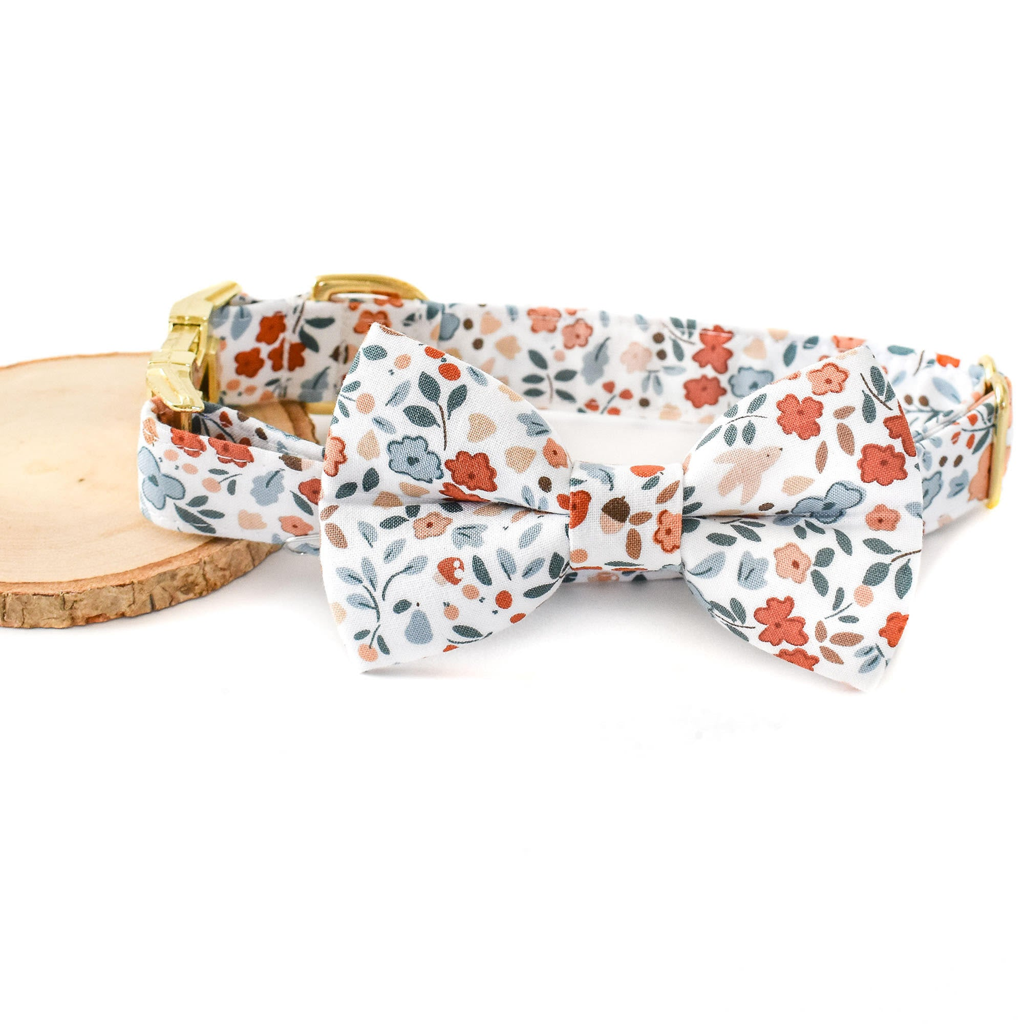 AUTUMN FLORAL DOG COLLAR AND BOW TIE SET