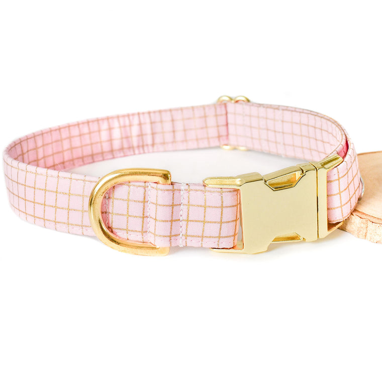 BALLERINA PINK GRID DOG COLLAR