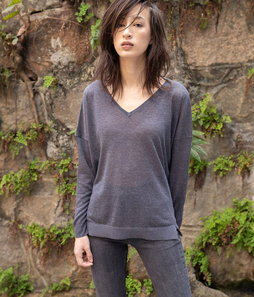 ALEGER V Neck Linen Blend Oversize Knit Top - Et Vous Fashion Boutique