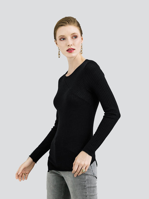 ALEGER Fine Merino Crew Neck w Ribbed Detail - Et Vous Fashion Boutique