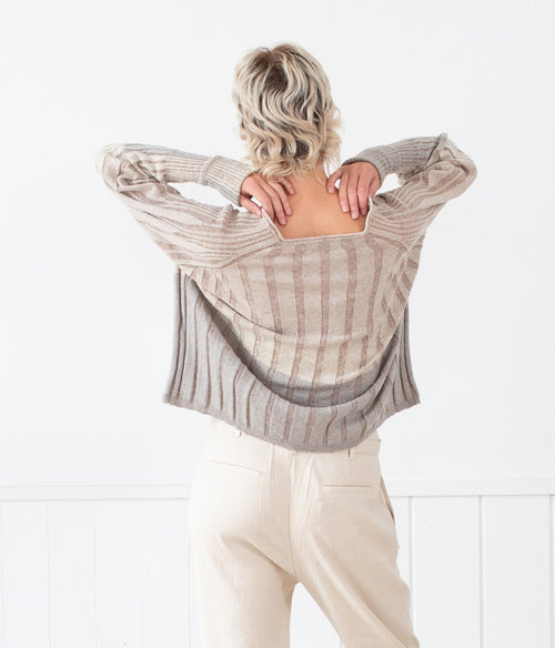 Transit Par-Such 3 Tone Knit Cardi - Et Vous Fashion Boutique