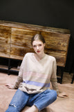ALEGER Oversized V Neck Striped Cashmere Sweater - Et Vous Fashion Boutique