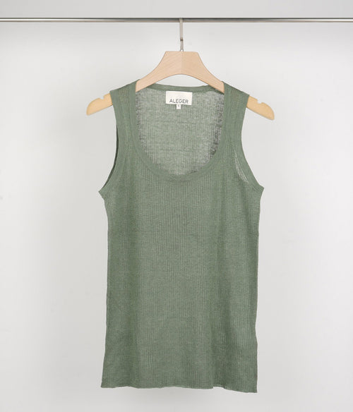 Aleger Crew Neck Ribbed Silk/Linen Knit Vest - Et Vous Fashion Boutique