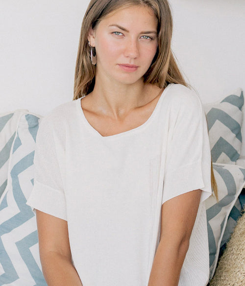 ALEGER Boxy Linen Blend Oversized Knit Top - Et Vous Fashion Boutique