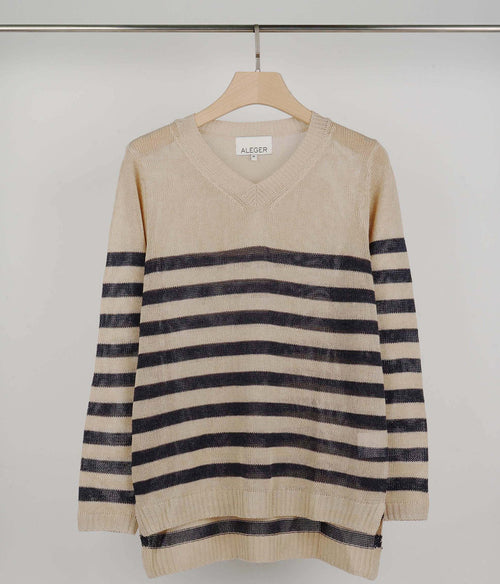 ALEGER V Neck Linen Blend Striped L/S Knit Top - Et Vous Fashion Boutique