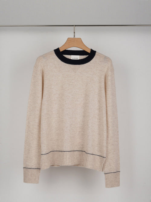 ALEGER Crew Neck Sweater With Contrast Details - Shell - Et Vous Fashion Boutique