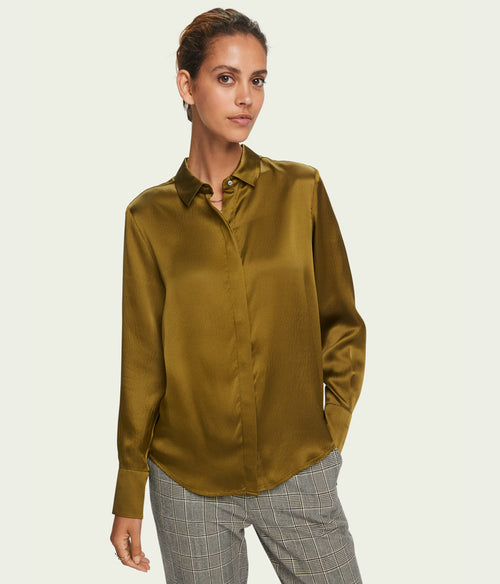Scotch & Soda Classic Silk Shirt/Army - Et Vous Fashion Boutique