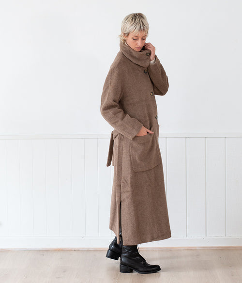 Transit Par-Such Coat w Pocket /Tie Waist - Et Vous Fashion Boutique