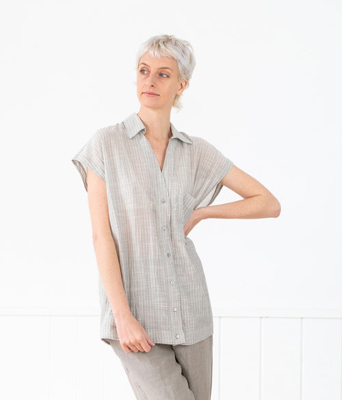 Transit Par-Such Crinkled Short Sleeve Shirt - Et Vous Fashion Boutique