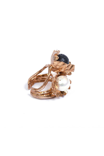 Miriam Nori Black And Natural Pearl Flower Ring - Et Vous Fashion Boutique