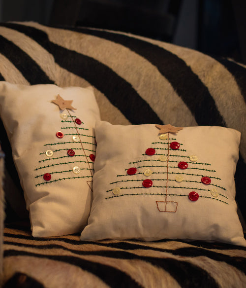 Stitched Xmas Tree Cushion - Et Vous Fashion Boutique