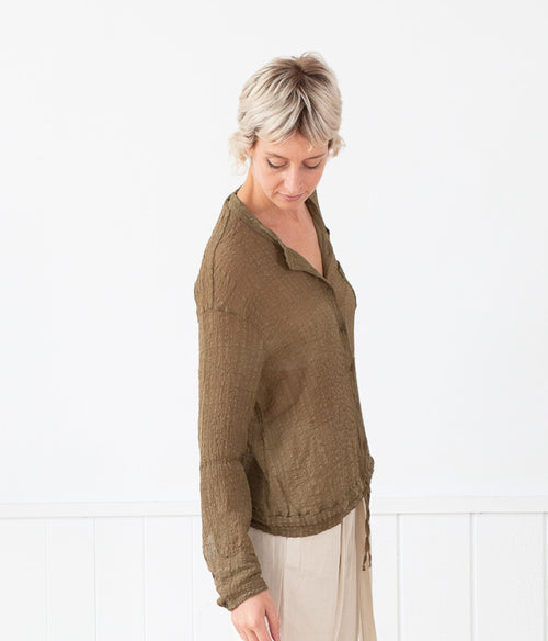 Transit Par- Such Textured Top  w Tie - Et Vous Fashion Boutique