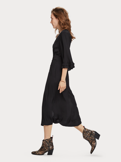 Scotch & Soda Mid Length V Neck Dress - Black - Et Vous Fashion Boutique