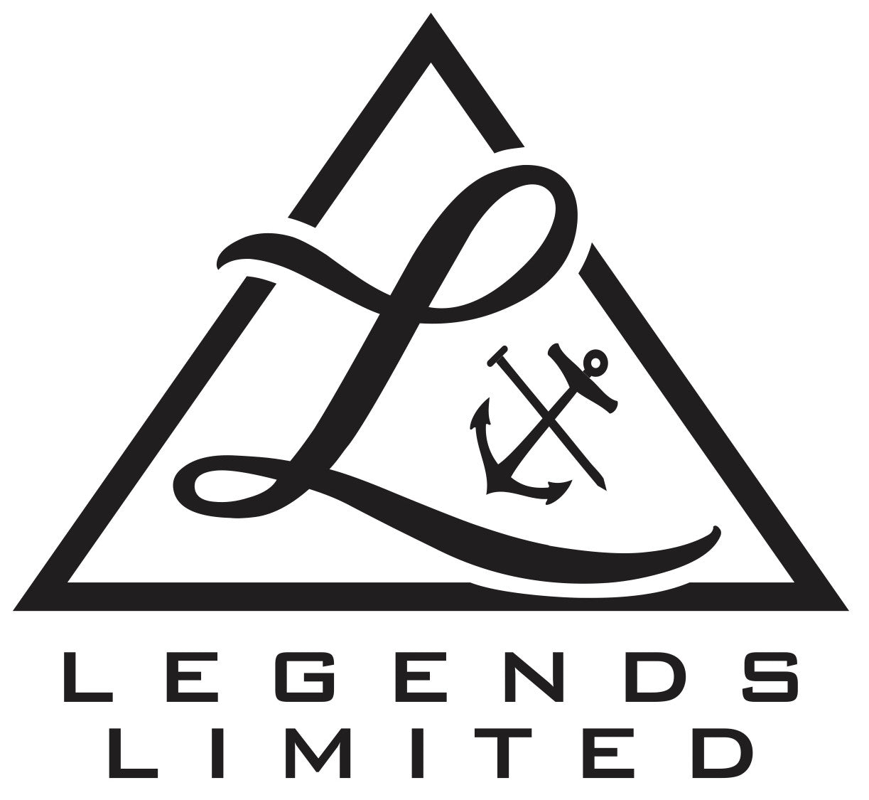 "Legends Limited premium lifestyle brands ""Pyramid"" logo features Legends L with signature anchor and nail cross."