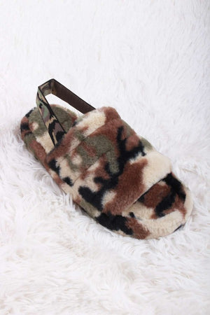 Banded Fur Slide Slippers