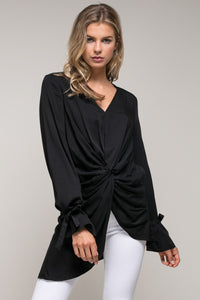 Black Front Knot Woven Top