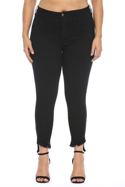 Cello Black Mid Rise Crop Skinny