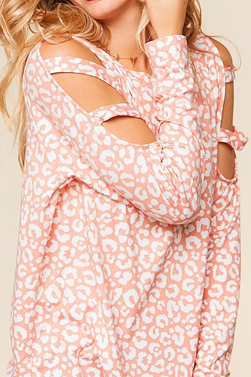 Blush Leopard Cutout Top