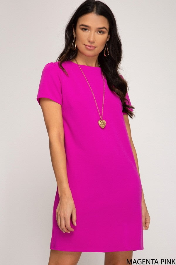 Magenta Pink Shift Dress