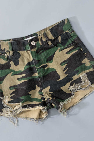 Camo Shorts with Raw Hem