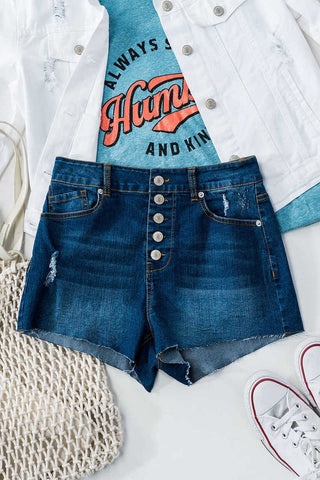 Denim Multi Button Shorts