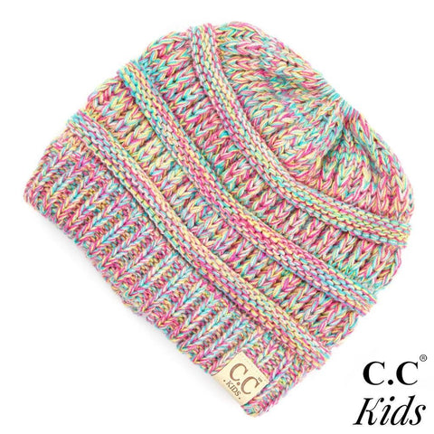 Kids Multi Color C.C. Messy Bun Beanie