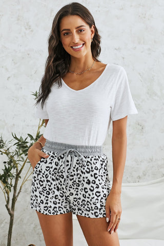 White Leopard Shorts