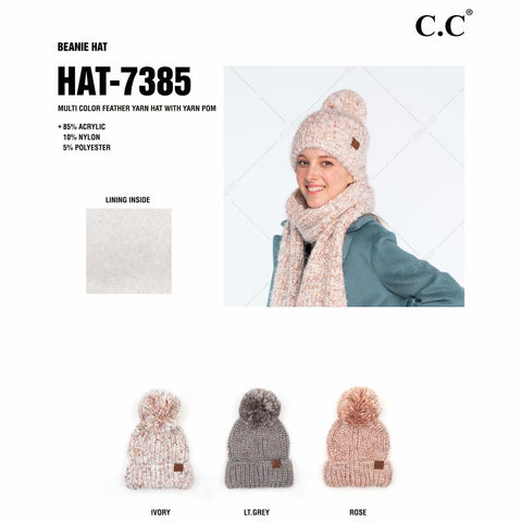 C.C Feather Yarn Pom Beanie
