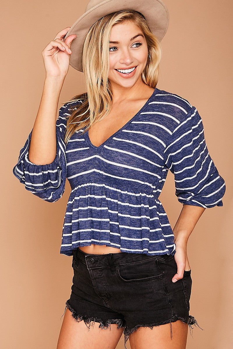 Navy/White Striped Knit Top