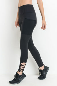 Black Criss-Cross Strap Full Leggings