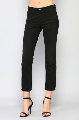 Flying Monkey Black Mid Rise Cropped Jean