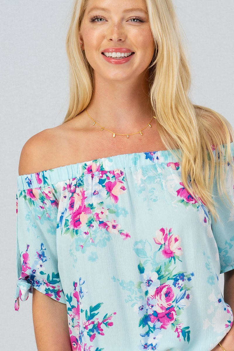 Blue Multi Floral Print Off Shoulder Top
