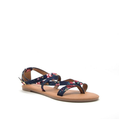 Navy Blue Floral Strappy Sandal
