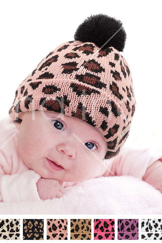 C.C. Baby Leopard Knit Beanie With Pom