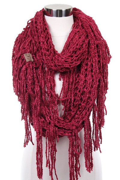 CC Chenille Infinity Scarf With Fringe