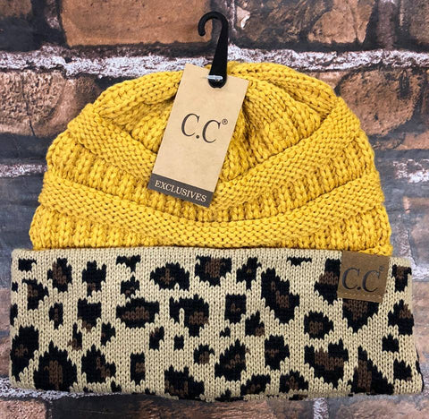 CC Knitted Beanie With Leopard Cuff
