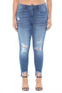 Cello Mid Rise Frayed Hem Skinny