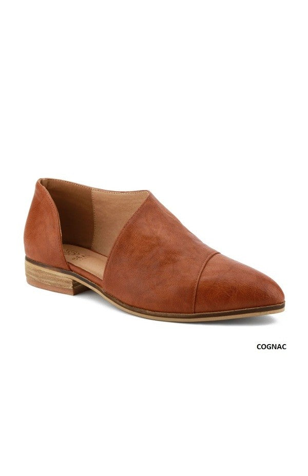 Cognac Side Cutout Flats