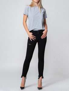 Mid Rise Curved Fray Hem Ankle Skinny