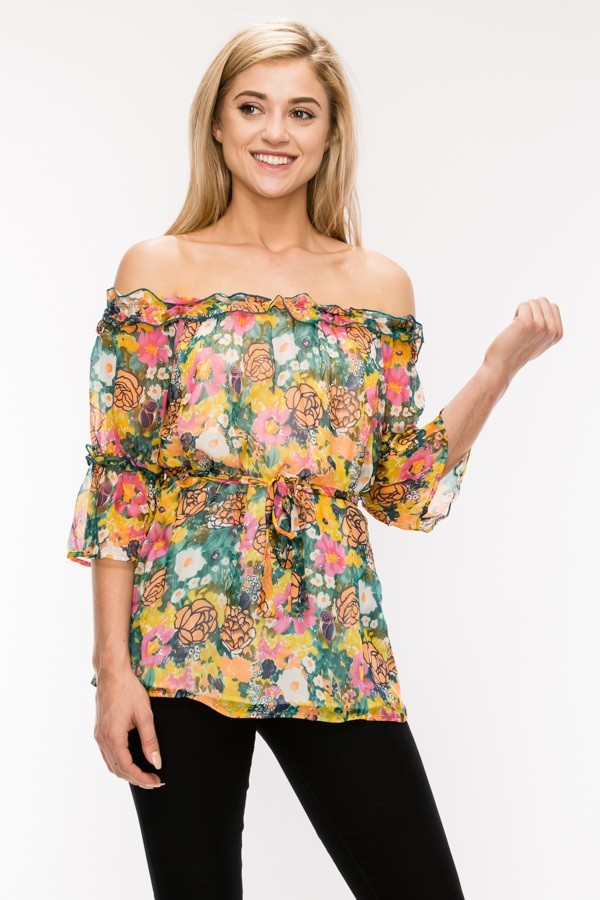 Green Floral Silk Chiffon Ruffle Top