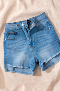 Light Denim High Waist Hi-Low Hem Shorts