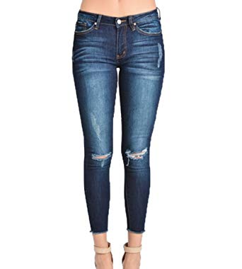 Kan Can Women's Mid Rise Destroyed Skinny Jeans Dark Wash