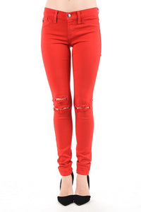 KanCan Red Distressed Skinnies