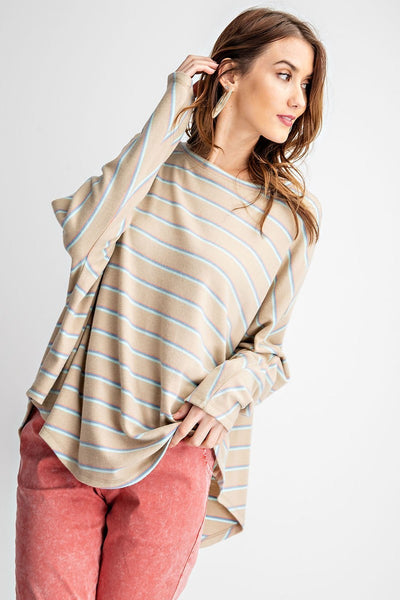 Sage Grey Long Sleeve Stripe Loose Top