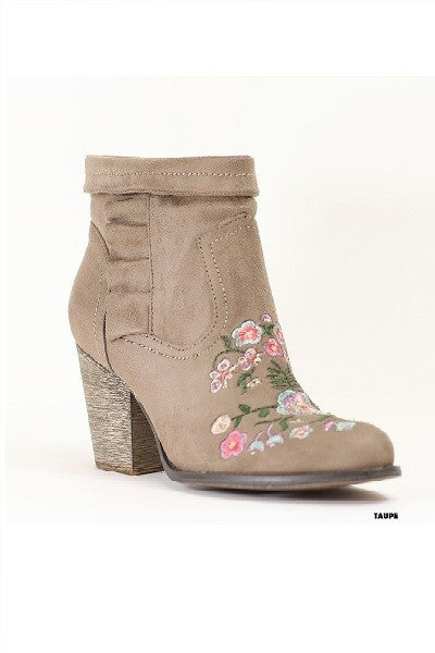 Taupe Embroidery Bootie