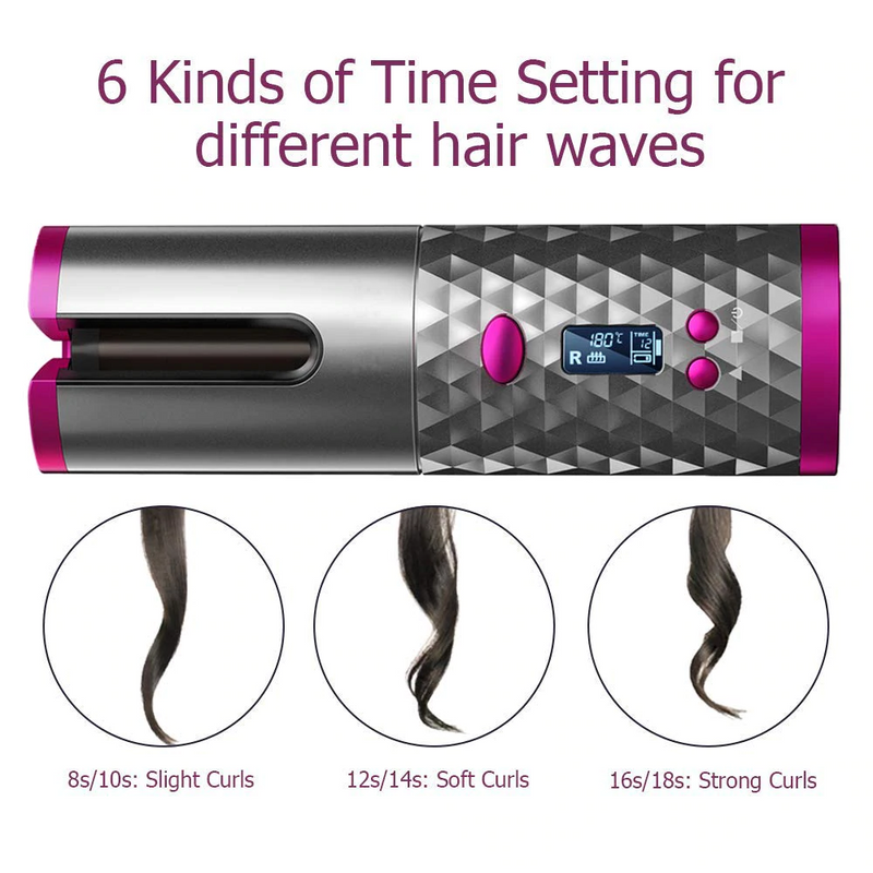 Cordless Hair Curler Automatic Curling Iron 6 Adjustable